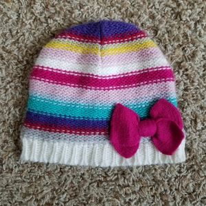 Little Girl's Knit Winter Hat Pink Bow 2T-5T